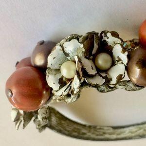 Vintage Flower + Beads Bangle